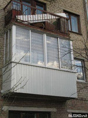 Остекление п-образное балкона 2,4х1,6х0,8 provedal с выносом.