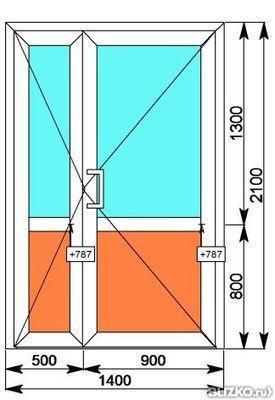 Дверь алюминиевая двухстворчатая 2100х1400 от компании балко.